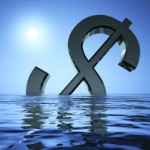 Dollar Sinking In The Sea Showing Depression Recession And Economic Downturns